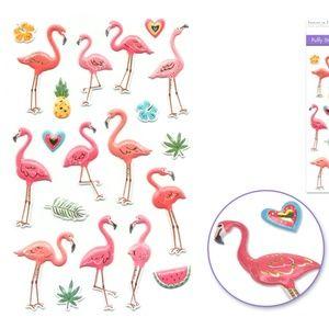 20 3D Puffy Flamingo Stickers (1 sheet)